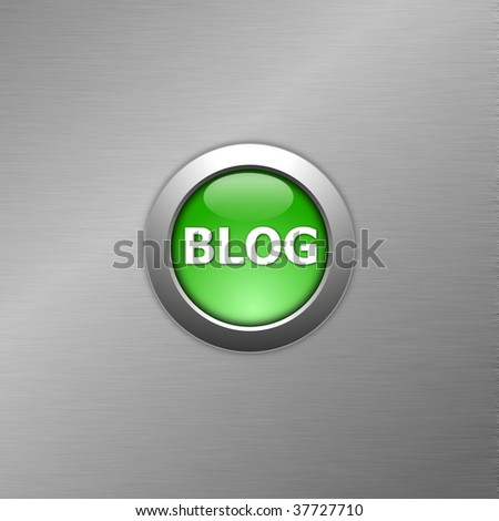 green blog internet computre button on metal - stock photo