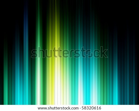 Green, blue and black luminous lines background - stock photo