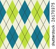 Green, blue and white seamless argyle pattern - stock vector
