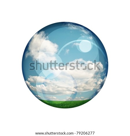 green blue clear ball on white background