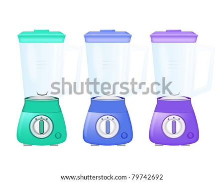 green, blue, purple blenders isolated over white background