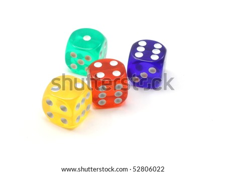 Green, blue, red, and yellow colored dice