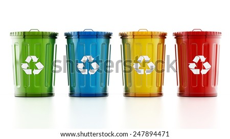 Green, blue, yellow and red recycle bins isolated on white background
