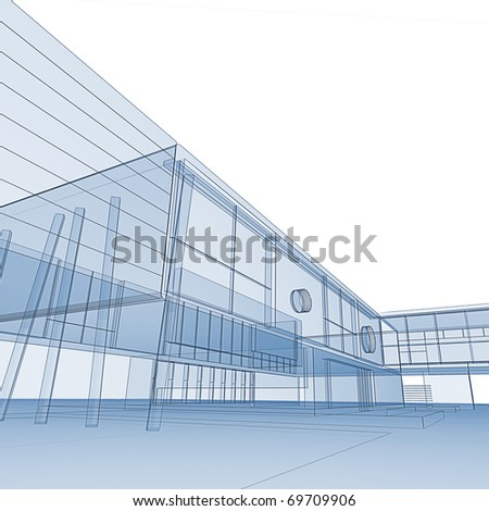 Green blueprint on white. My personal architectural project - stock photo