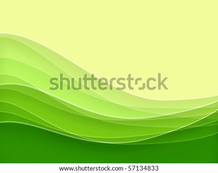 Green blurry waves and curved lines background - stock photo