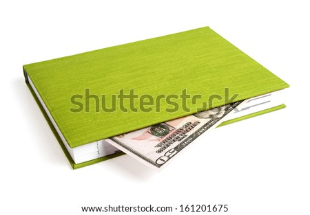 Green book and dollar isolated on a white background - stock photo