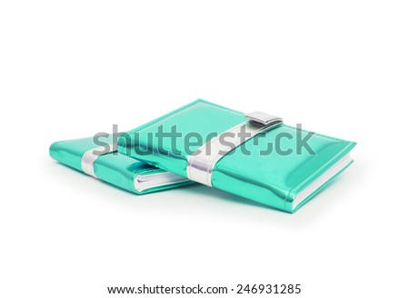 green books isolated on white background