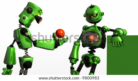 green-bot the robot, simple but detailed, designed for ez customization