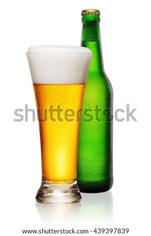 Green Bottle and glass of beer isolated on white background. - stock photo