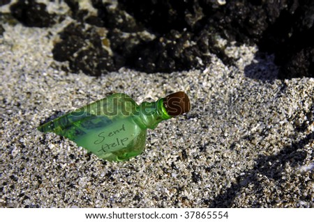 Green bottle has washed ashore and has an urgent note inside it.  Bottle also has water inside it.  Rocky shore with tiny pebbled sand.