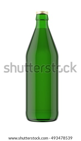 Green bottle isolated on white background. 3D rendering. Mock up for your design.