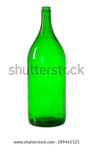 Green bottle isolated over white background