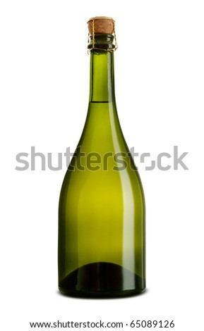 green bottle of champagne - stock photo