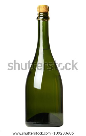 Green bottle of champagne with drops