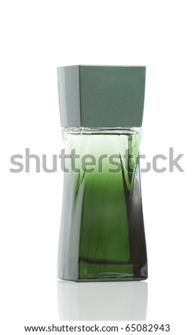 green bottle of perfume on a white background