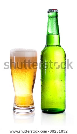 Green Bottle with Condensation and Glass of beer Isolated  on white background