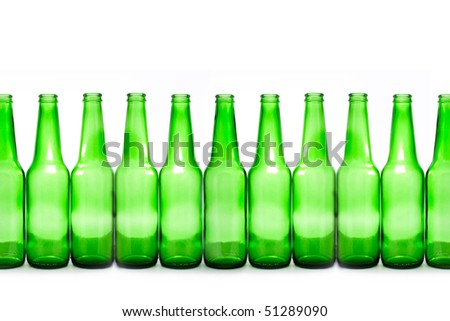green bottles isolated on white