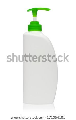 Green bottles of liquid soap on white background - stock photo