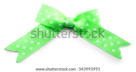 Green bow isolated on white - stock photo