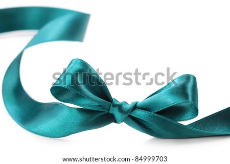Green bow isolated on white background - stock photo