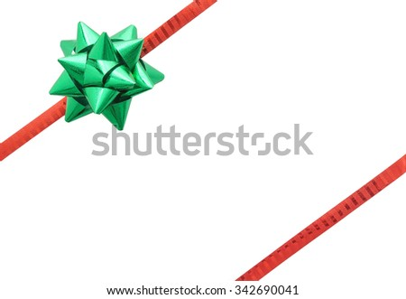 Green bow on red ribbon decoration, isolated on white background