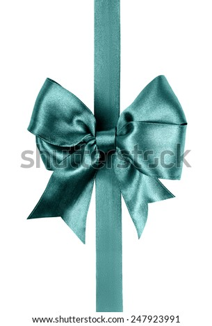 green bow photo made from silk isolated