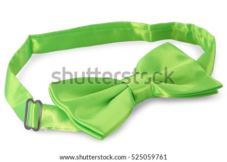 Green bow Tie, isolated on white background