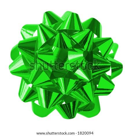 Green Bow (with clipping path for easy background removing) - stock photo