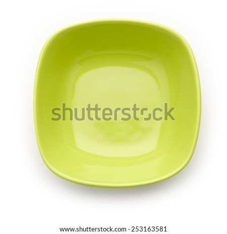 Green bowl on white background - stock photo