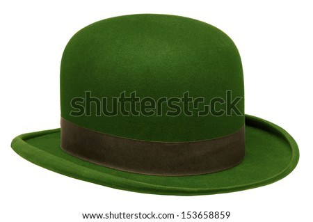 Green bowler or derby hat isolated against white background - stock photo