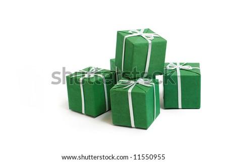 green boxes - stock photo