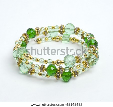 Green bracelet - stock photo