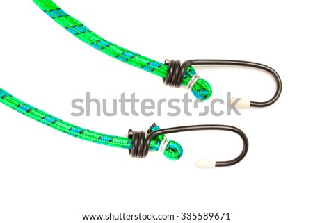 green braided nylon stretch cord on a white background