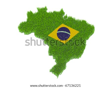green brasil nation map and flag with grass 3d illustration - stock photo