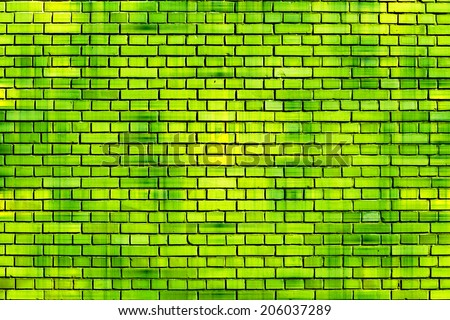 green brick wall background - stock photo