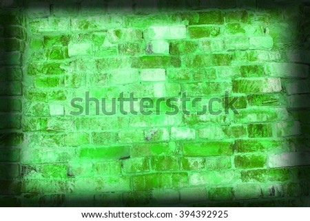 green brick wall background faded on black