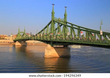 Green bridge across Danube river, Budapest, Hungary - stock photo