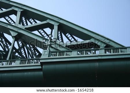 Green bridge in Newcastle - stock photo