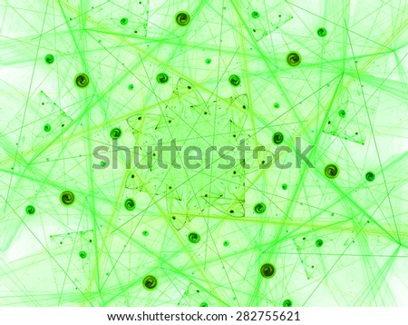 green Bright glowing abstract background. Abstract futuristic background with lighting effect for creative design. Shiny template for wallpaper desktop, poster, cover booklet, flyer. Fractal art