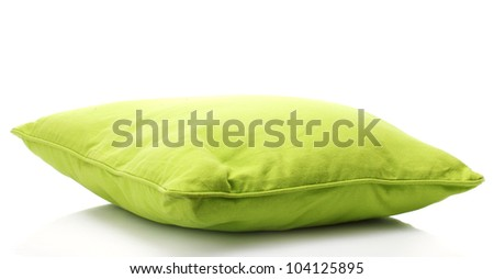 green bright pillow isolated on white - stock photo