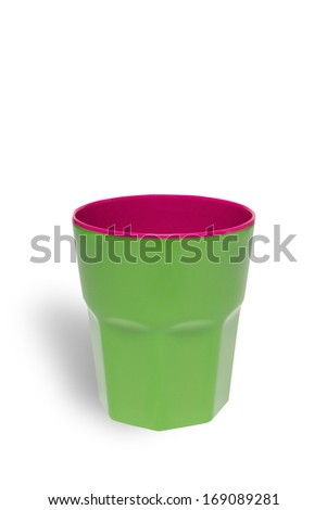 Green bright plastic cup isolated on white background with clipping path