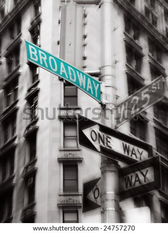 green broadway street sign, black and white photo, new york