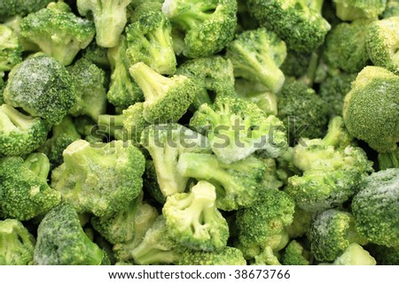 green broccoli background with ice and frost - stock photo