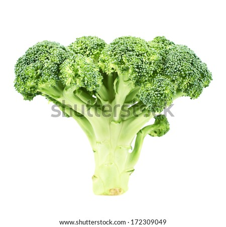 Green broccoli isolated over white background