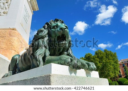 Green Bronze Lion AT Royal Palace in Madrid - stock photo