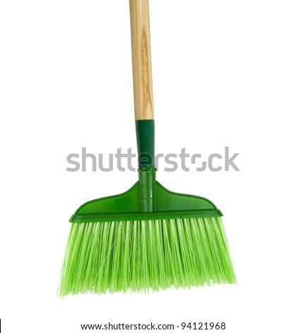 green broom for cleaning floors on a white background - stock photo