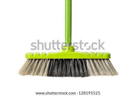 Green broom isolated on white background - stock photo