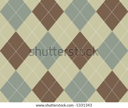 Green, brown and tan argyle