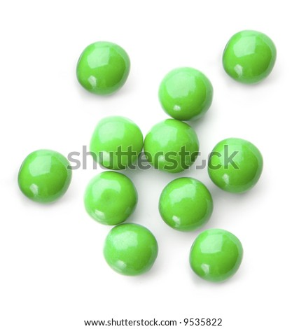 green bubble gum balls isolated on white - stock photo