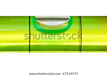 Green bubble level isolated on a white background with clipping path - stock photo